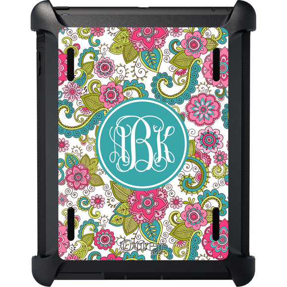 Personalized Floral iPad Otterbox Defender - Monogrammed