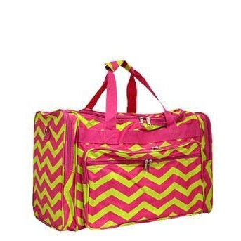 Monogrammed Lime & Pink Chevron Duffel Bag for Girls