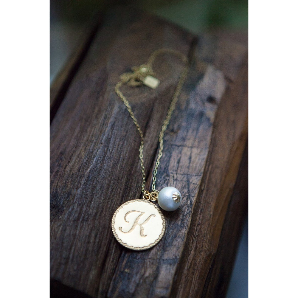 John Wind Gold Initial Necklace with Pearl