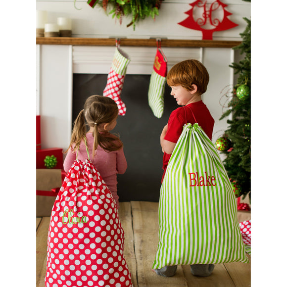 Monogramed Christmas Drawstring Bags - Santa Sacks