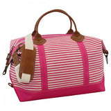 Canvas Pink Striped Weekender Bag with Leather - inthisveryroom
