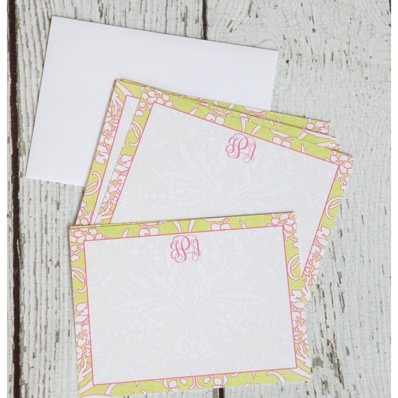 Personalized Elegant Damask Notecards Stationery