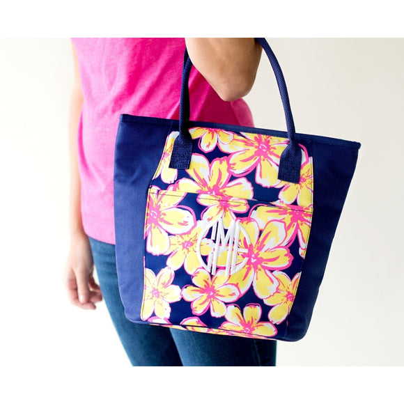 Floral Insulated Cooler Tote Bag - Personalized