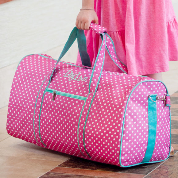Polka Dots Monogrammed Girls Duffel Bag