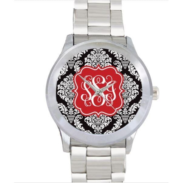 Damask Print Watch - Stainless Steel