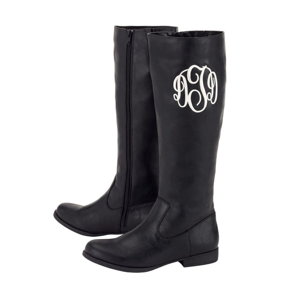 Monogrammed Black Boots for Women
