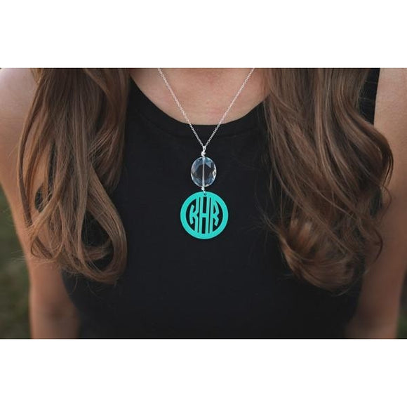 Monogram Necklace with Drop Pendant