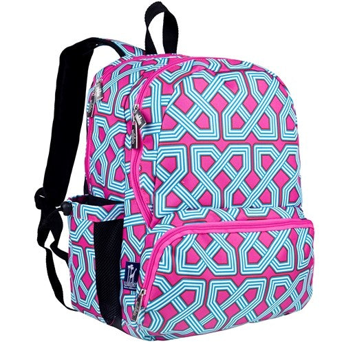 Monogrammed Aqua & Pink Backpack for School