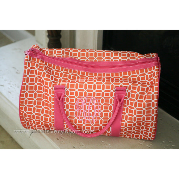 Orange & Pink Personalized Duffel Bag for Women