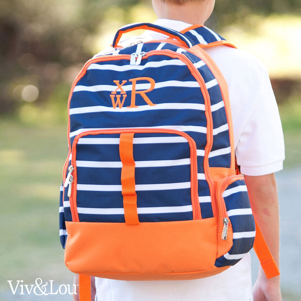 Orange & Navy Stripes School Backpack