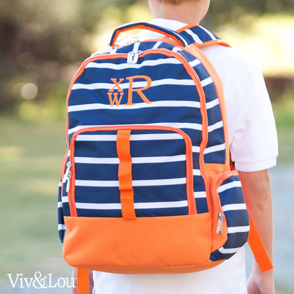 Personalized Stripes Backpack for Boys - Navy & Orange