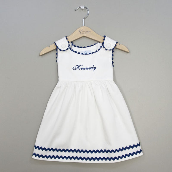 Monogrammed Navy and White Baby Toddler Dress