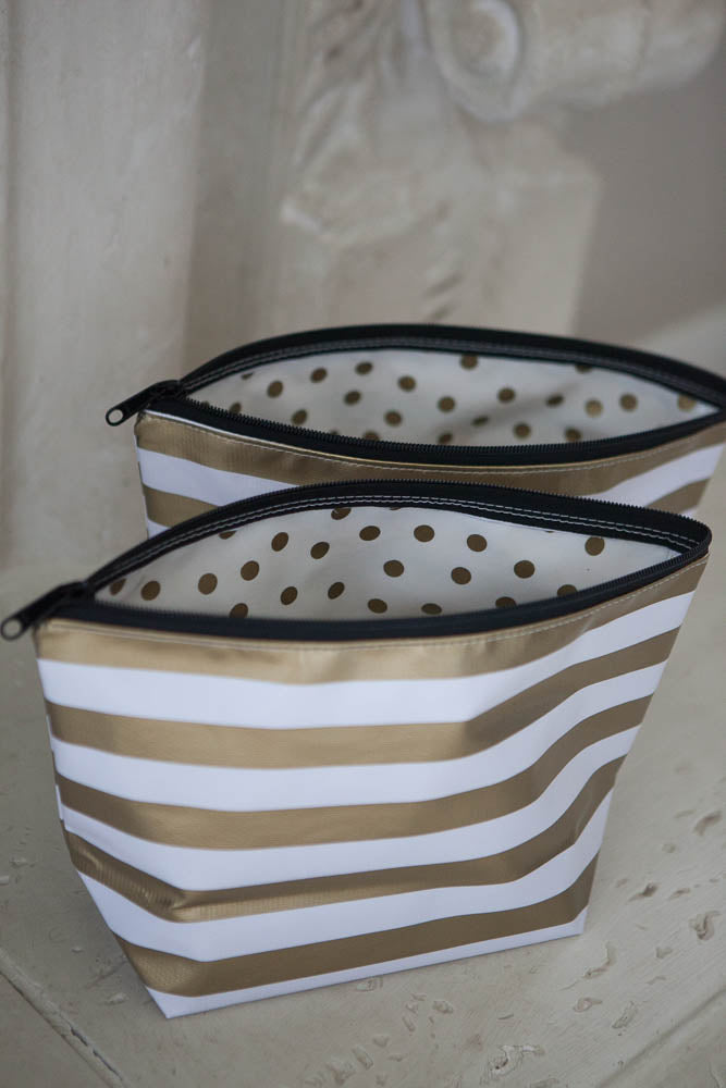 Gold Striped Oilcloth Cosmetic Bag