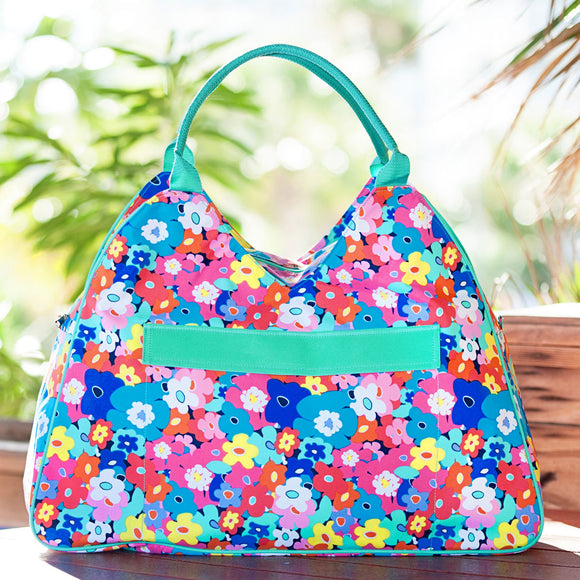 Poppy Floral Personalized Beach Bag