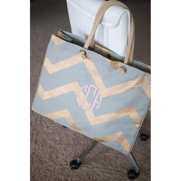 Personalized Chevron Tote Bag - Jute Tote Monogrammed