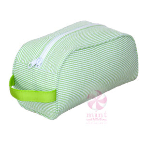Lime Green Seersucker Dopp Style Bag
