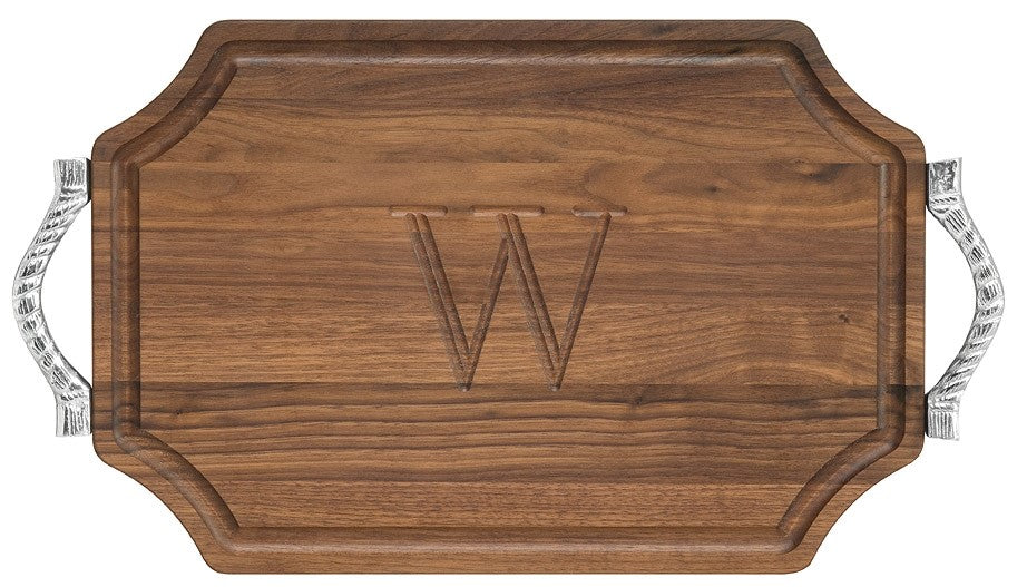 Walnut Scalloped Rectangle Board with Handles