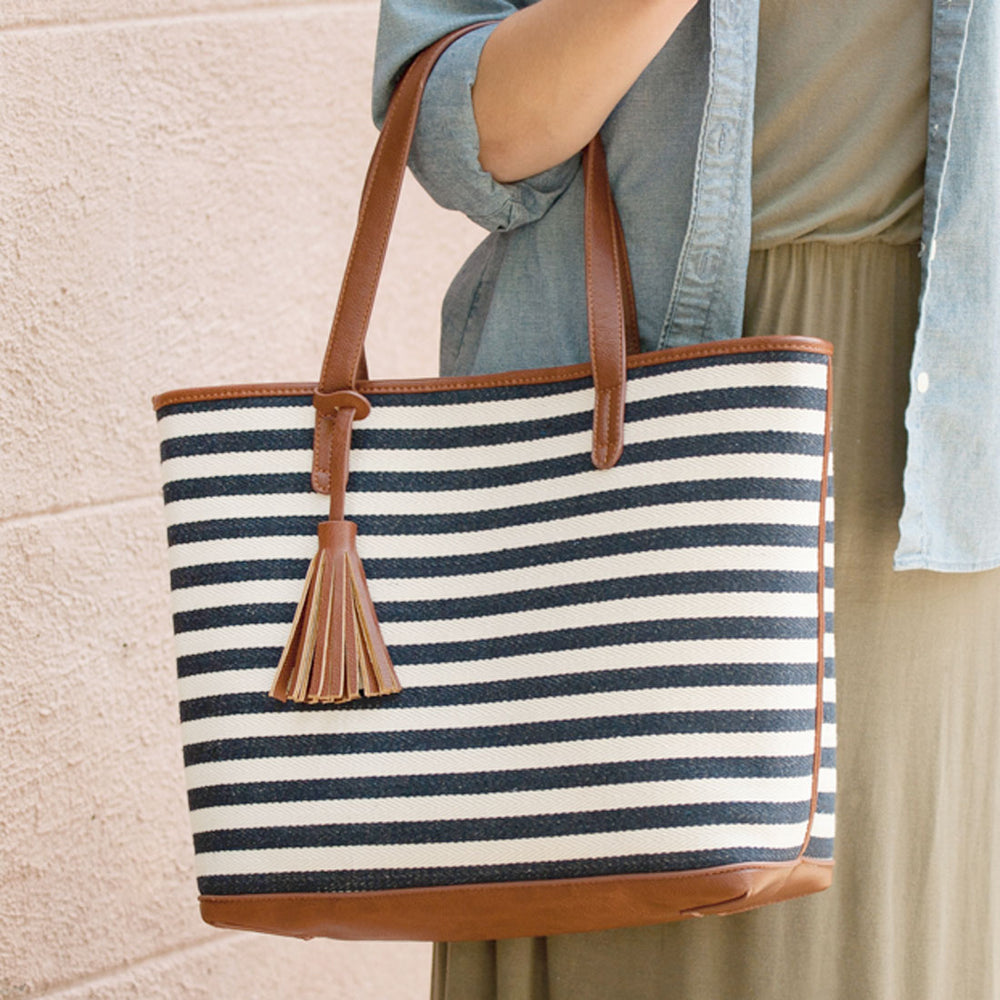 Chandler - Navy Striped Personalized Tote Bag