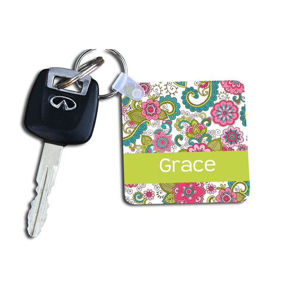 Personalized Floral Keychain