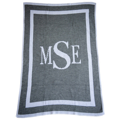 Initials Monogram Knitted Blanket