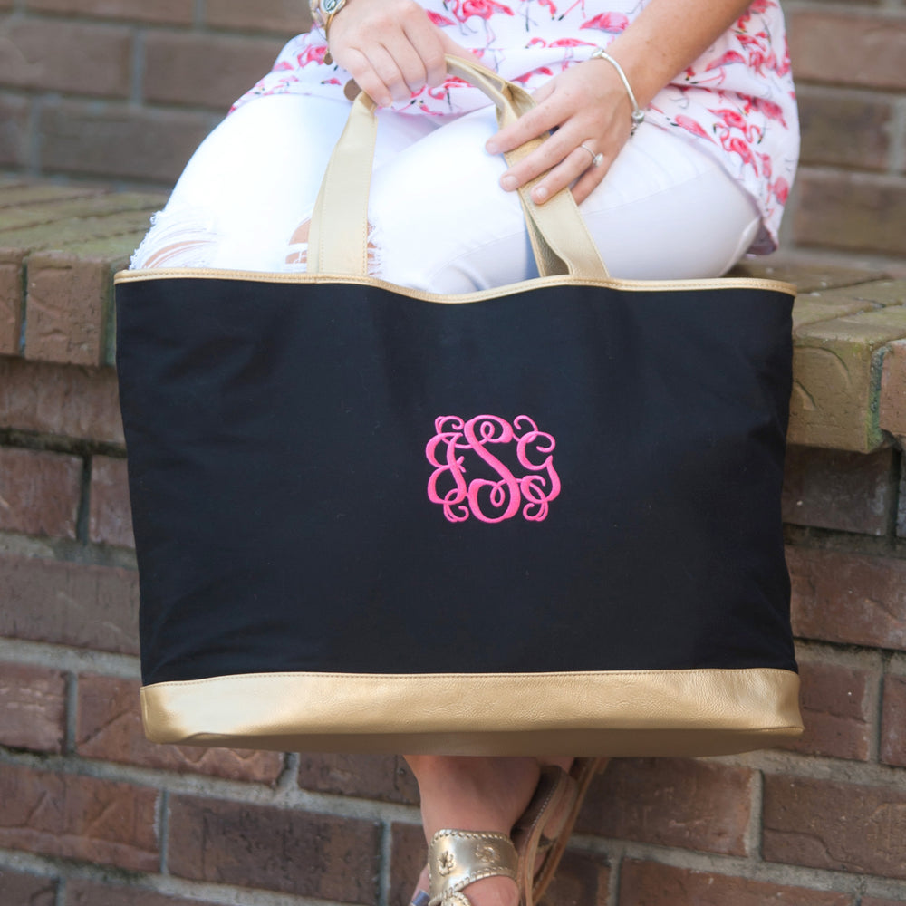 Black Canvas Tote with Gold - inthisveryroom