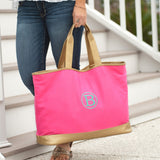 Hot Pink & Gold Monogrammed Tote Bag