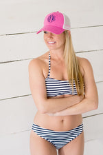 Navy Striped Bathing Suit Top