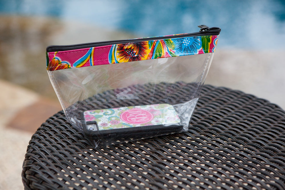 Clear Zip Cosmetic Bag with Pink Floral Band
