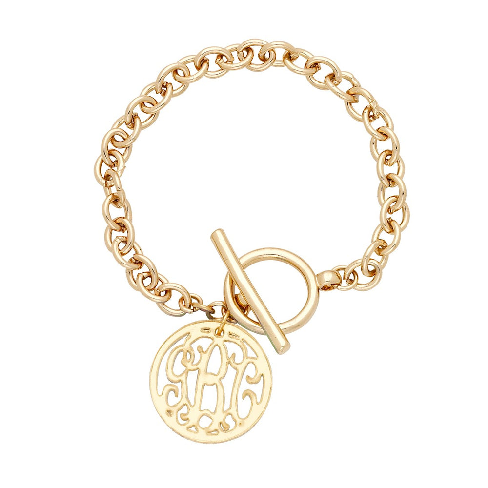 Monogram Acrylic Toggle Bracelet - Gold or Silver