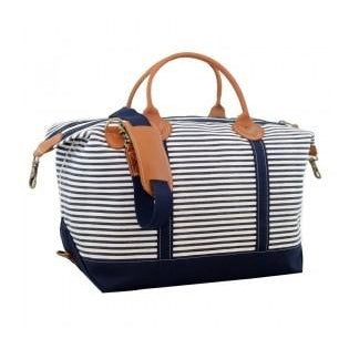 Canvas Navy & White Striped Weekender Bag with Leather