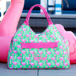 Monogrammed Large Flamingo Beach Bag