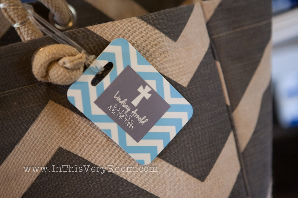 Cross & Chevron Stripes Luggage Tags