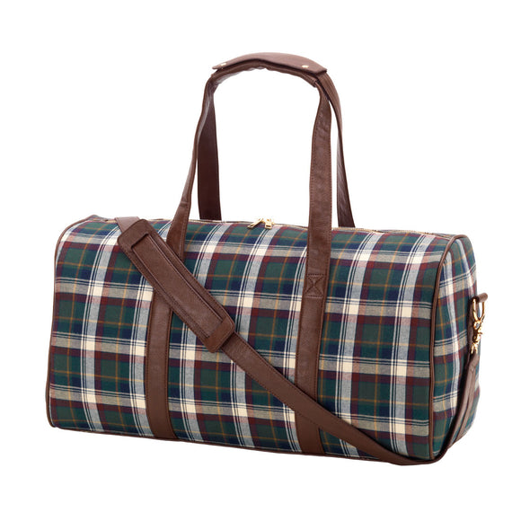 Personalized Plaid Duffel Bags