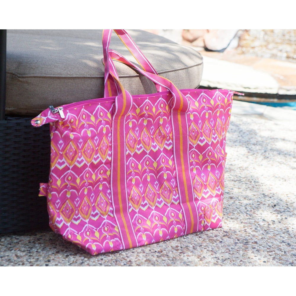 Personalized Beach Bag Pink Yellow - Travel Bag
