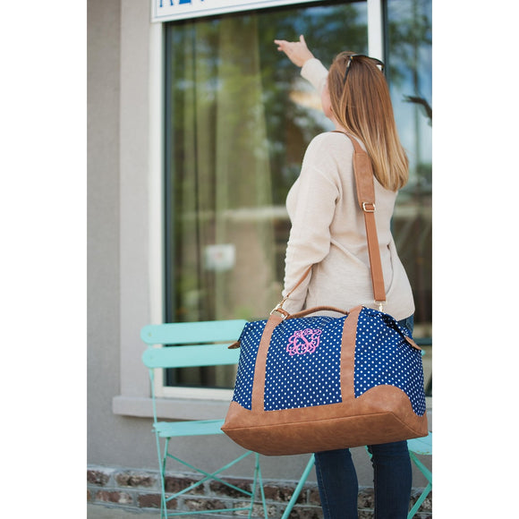 Navy Dot Weekender Duffel Bag - Monogrammed