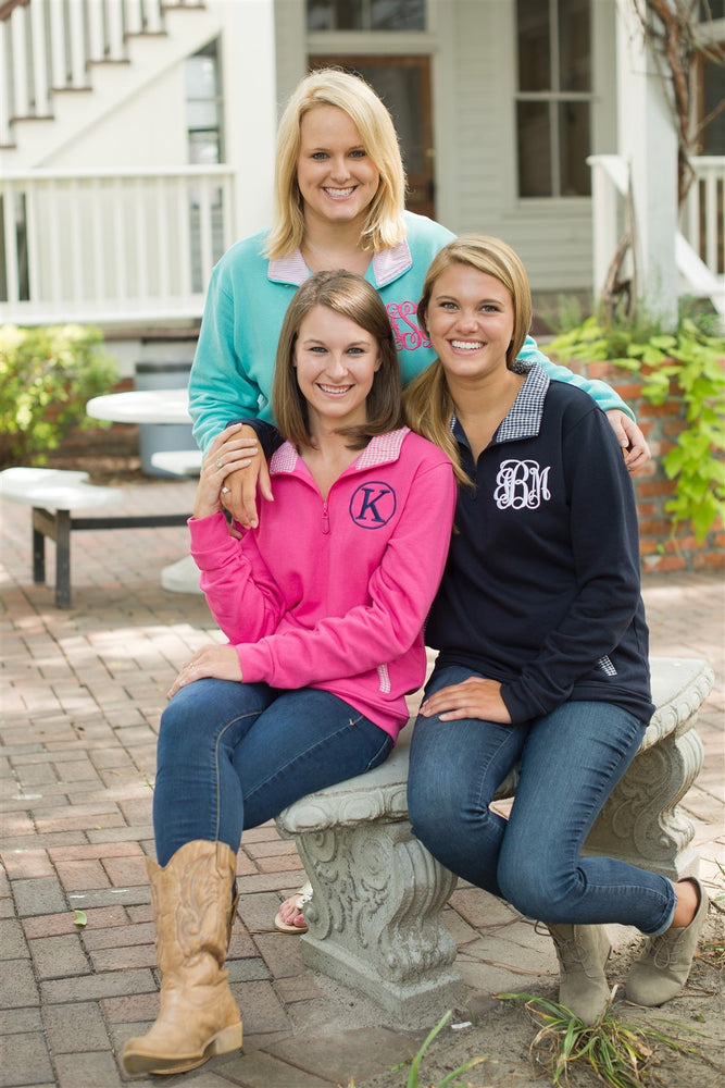 Navy Pullover Sweatshirt with Monogram