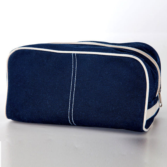 Monogrammed Navy Canvas Dopp Bag