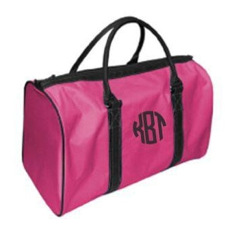 Monogrammed Pink Black Duffel Bag for Girls Women