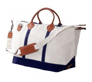 Canvas Navy & White Weekender Bag with Leather - inthisveryroom