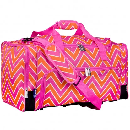 Pink Orange Chevron Wildkin Monogrammed Duffel Bag