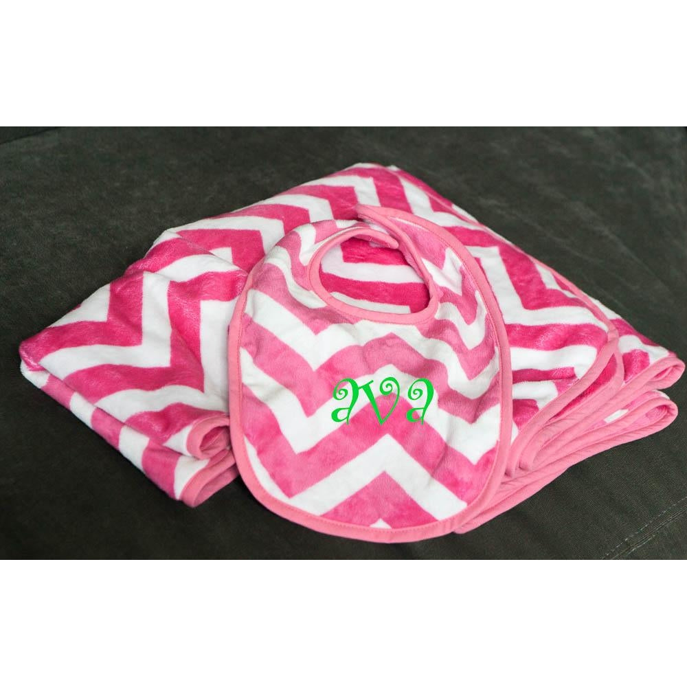 Hot Pink Chevron Baby Blanket, Bib & Burp Gift Set