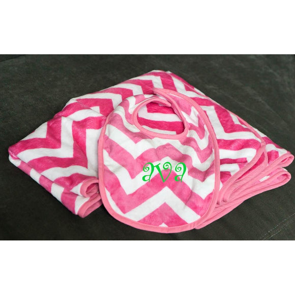 Pink Chevron Baby Blanket Personalized