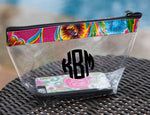 Personalized Clear Cosmetic Bag - monogrammed clear bag travel