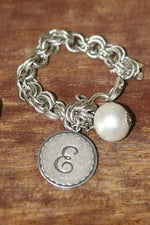 John Wind Silver Initial Bracelet with Pearl
