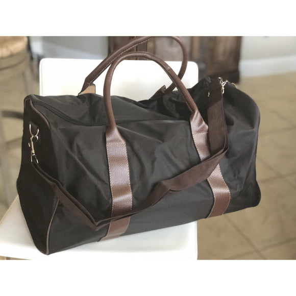 Monogrammed Black Brown Duffel Bag for Boys & Men