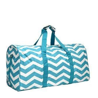 Monogrammed Turquoise Chevron Duffel Bag for Girls
