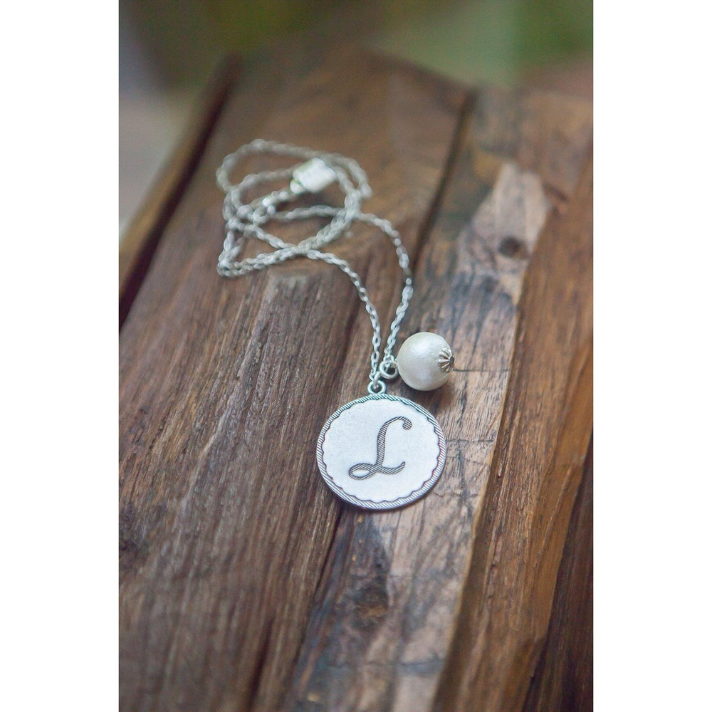 John Wind Silver Initial Necklace with Pearl