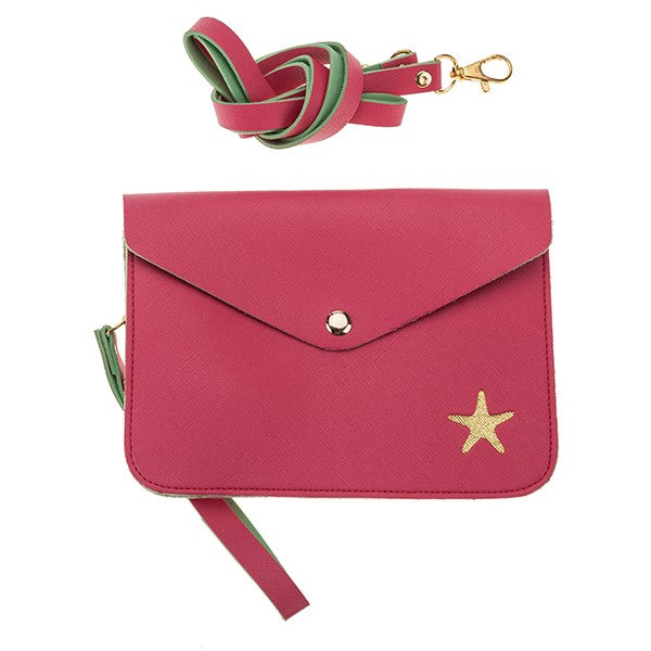 Coral with Starfish Crossbody Purse