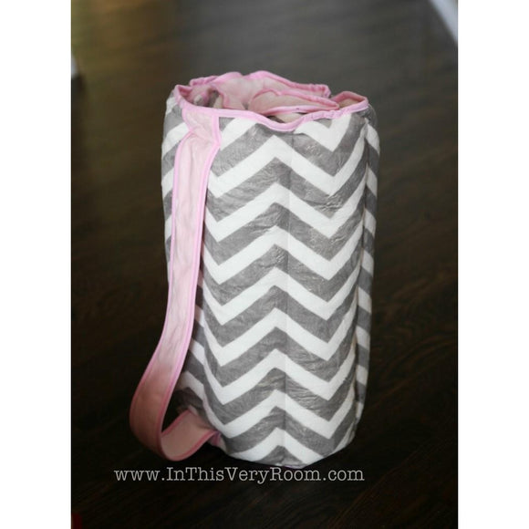 Personalized Chevron Stripes Nap Mat - Pink & Grey