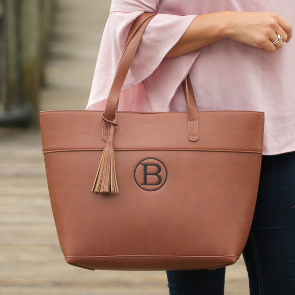 Monogrammed Vegan Leather Brown Camel Purse Tote